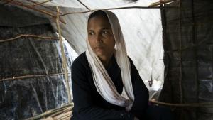 Zahida Begum, poses for a photograph in Thangkhali, Cox's Bazar area, Bangladesh on Oct. 12, 2017. (AP / Salahuddin Ahmed)