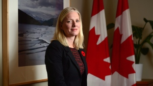 Minister of Environment and Climate Change Catherine McKenna poses for a photo in her office on Parliament Hill in Ottawa on Tuesday Nov. 7, 2017. (Sean Kilpatrick / THE CANADIAN PRESS)