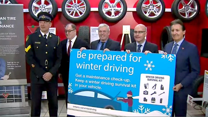 OPP Sgt. Kerry Schmidt and Transportation Minister Steven Del Duca were on hand at an Etobicoke Canadian Tire location on Nov. 16 to encourage Ontario's drivers to get ready for the winter season.