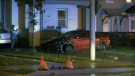 A two-vehicle crash at Weber and Wellington streets in Kitchener ended with one vehicle on a front lawn.