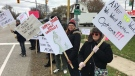 Students and staff picket at St. Clair College in Windsor, Ont., on Thursday, Nov. 16, 2017. (Chris Campbell / CTV Windsor)