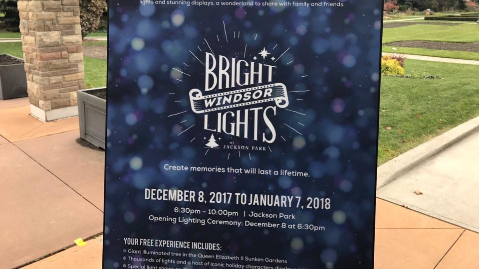 Bright Lights Windsor details announced in Jackson Park in Windsor, Ont., on Thursday, Nov. 16, 2017. (Rich Garton / CTV Windsor)