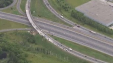 The connections between Highway 401 and Highway 8 are shown in this file image taken from video.