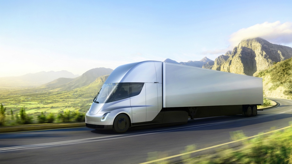 This photo provided by Tesla shows the new electric semitractor-trailer unveiled on Thursday, Nov. 16, 2017. (Tesla)