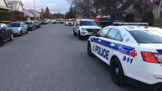 Police investigate an early morning shooting on Monterey Drive in Nepean on Friday, Nov. 17, 2017.