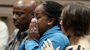 Katrina Johnson becomes emotional at the South Lee County Courthouse in Keokuk, Iowa after the jury returned a guilty verdict for Jorge Sanders-Galvez in the death of Johnson's transgender child, 16-year-old Kedarie Johnson, in this Nov. 3, 2017 file photo. (John Lovretta/The Hawk Eye via AP, Pool)
