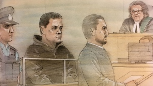 Const. James Forcillo appears in court on Nov. 17, 2017 after allegedly breaching his bail conditions by visiting his fiance's residence. (Sketch by John Mantha)