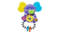 The recalled product is called the VTech Shake and Sing Elephant Rattle, a purple elephant with one yellow ear and one blue ear. (Source: Health Canada)