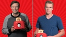 In images released by Canadian Tire, Wayne Gretzky and Connor McDavid are seen with toasters that will be sold as part of their Give A Toast campaign. Supplied.