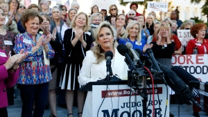 Kayla Moore, wife of former Alabama Chief Justice and U.S. Senate candidate Roy Moore, speaks at a press conference, Friday, Nov. 17, 2017, in Montgomery, Ala. (Brynn Anderson/AP Photo)