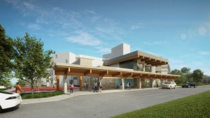 An artist rendering shows the new centre for mental health and addictions on Riverview lands in Coquitlam, B.C. (Province of British Columbia)