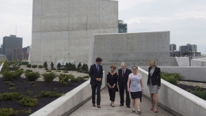 Prime Minister Justin Trudeau (left) speaks with holocaust survivors Georgette Brinberg, Philip Goldig, Eva Kuper and Minister of Canadian Heritage Melanie Joly after visiting the National Holocaust Monument in Ottawa, Wednesday September 27, 2017. (Adrian Wyld/The Canadian Press)