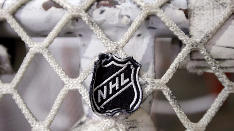 In this file photo taken Sept. 17, 2012, the NHL logo is seen on a goal at a Nashville Predators practice rink in Nashville, Tenn. THE CANADIAN PRESS/ AP/Mark Humphrey