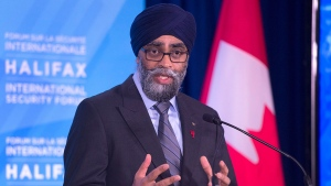 Canadian Defence Minister Harjit Sajjan fields questions at a news conference at the Halifax International Security Forum in Halifax on Friday, Nov. 17, 2017. THE CANADIAN PRESS/Andrew Vaughan