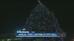 City Hall lights Christmas tree