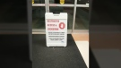 A picture obtained by CTV News shows a sign in front of NRGH's entrance advising of the restricted access and lockdown. Nov. 17, 2017. (Submitted)