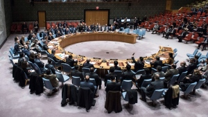 In this photo provided by the United Nations, the U.N Security Council votes on a U.N. resolution that would extend the mandate of the expert body charged with determining responsibility for chemical weapons attacks in Syria, Friday, Nov. 17, 2017, at United Nations headquarters. (Kim Haughton / The United Nations via AP)