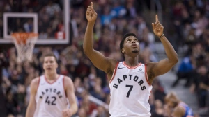 Toronto Raptors guard Kyle Lowry (7) celebrates during the second half of his team's 107-84 win over the New York Knicks in NBA basketball action in Toronto on Friday, November 17, 2017. (THE CANADIAN PRESS / Chris Young)