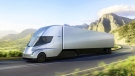 This photo provided by Tesla shows the new electric semitractor-trailer unveiled on Thursday, Nov. 16, 2017. The move fits with Tesla CEO ElonMusk's stated goal for the company of accelerating the shift to sustainable transportation. (Tesla via AP)