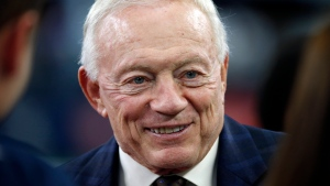 FILE - In this Nov. 24, 2016, file photo, Dallas Cowboys owner Jerry Jones talks on the sideline before the Cowboys played the Washington Redskins during an NFL football game in Arlington, Texas. (AP Photo/Ron Jenkins File)