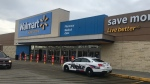 Police were on scene after a security guard was stabbed while confronting a suspected shoplifter at a Walmart in Delta, B.C. on Nov. 18, 2017.