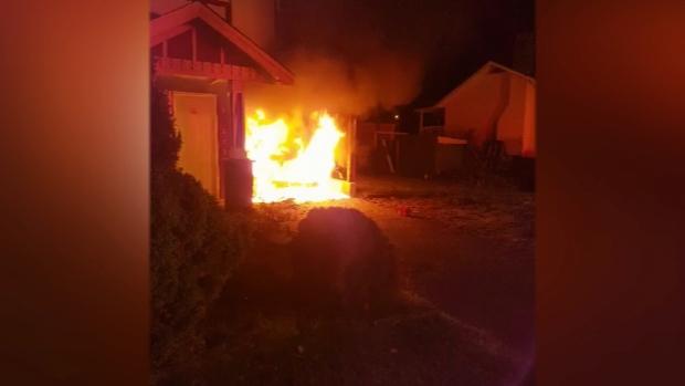 A suspicious fire set a brand new vehicle ablaze in a Delta family's carport on Nov. 18, 2017.