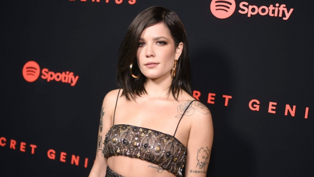 FILE - In this Wednesday, Nov. 1, 2017 file photo, Halsey arrives at the Secret Genius Awards in Los Angeles. (Photo by Richard Shotwell/Invision/AP)