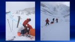 Crews attend to an injured man in the Arethusa Cirque area following a November 18 avalanche (photos: Kananaskis Country Public Safety Section