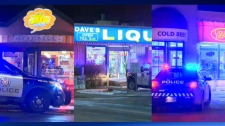 CPS units outside of The Big Cheese Poutinerie, Dave's Liquor Store and the Liquor Deport in Midanapore following early morning robberies involving a knife