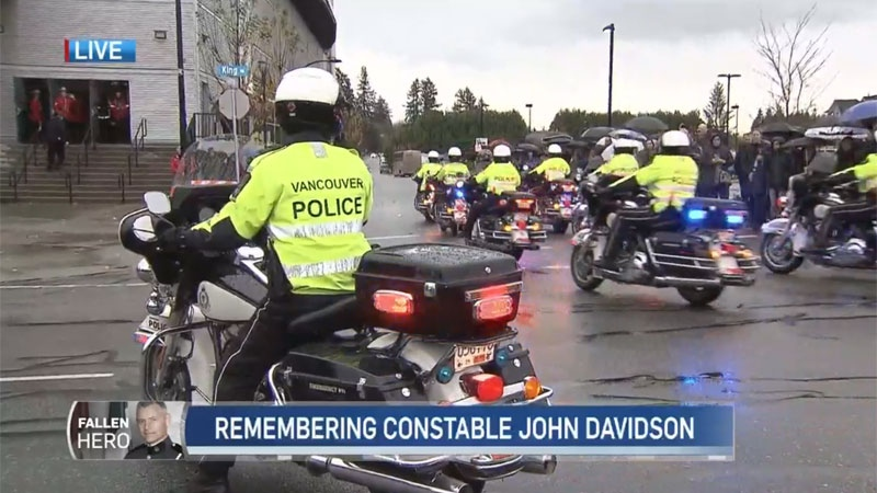 Vancouver police led the procession on their motorcycles.