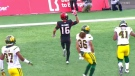 Marquay McDaniel celebrates his second quarter touchdown in the Western Final that cut into the Eskimos lead