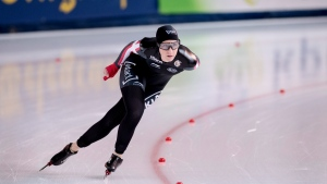 Canada's Ivanie Blondin in action during the women's 5000 m event of the speed skating World Cup, in Stravanger, Norway, Sunday, Nov. 19, 2017. (Carina Johansen/NTB Scanpix via AP)