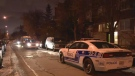 A woman was injured in the arm when shots were fired at a Parc-Extension apartment building early on Monday morning.