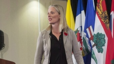 Federal Environment Minister Catherine McKenna arrives for a news conference after a Canadian Council of Ministers of the Environment meeting in Vancouver on Nov. 3, 2017. (Darryl Dyck / THE CANADIAN PRESS)