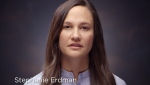 This photo provided by Honda shows Stephanie Erdman in a video targeting Honda owners who have yet to get free repairs under the massive Takata recalls. (Courtesy of Honda via AP)