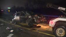 A two-vehicle collision shut down the Victoria Street Bridge on Sunday, Nov. 19, 2017.