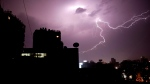 A thunder and lightning storm strikes Cairo, Egypt, Wednesday, April 12, 2017. (AP Photo/Nariman El-Mofty)