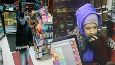 Police are searching for a man and woman, who they say tried to rob gas stations in Barrie, Ont. and Oro-Medonte, Ont. (Handout)
