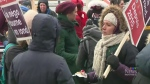 Some of Quebec's midwives staged at a strike in Mo