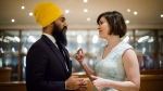 Federal NDP Leader Jagmeet Singh and Chief of Staff, Willy Blomme chat prior to having their portrait taken before the Broadbent Institute's Progress Gala in Toronto on Thursday, November 16, 2017. (Christopher Katsarov / THE CANADIAN PRESS)