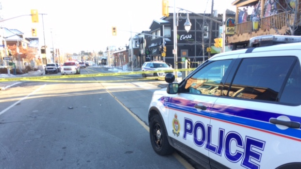 Ottawa Police investigate a hit-and-run that left a woman in her 20s is in critical condition after being hit by a car in Little Italy Monday, Nov. 20, 2017. (Jim O'Grady/CTV Viewer)