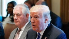President Donald Trump announces that the United States will designate North Korea a state sponsor of terrorism during a cabinet meeting at the White House, Monday, Nov. 20, 2017, in Washington. From left, acting Secretary of Health and Human Services Eric Hargan, Secretary of the Interior Ryan Zinke, Secretary of State Rex Tillerson, and Trump. (AP Photo/Evan Vucci)