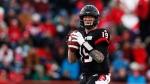 Calgary Stampeders' quarterback Bo Levi Mitchell looks to throw a pass during the second quarter of their CFL West Final football game against the Edmonton Eskimos in Calgary, Sunday, Nov. 19, 2017.THE CANADIAN PRESS/Todd Korol