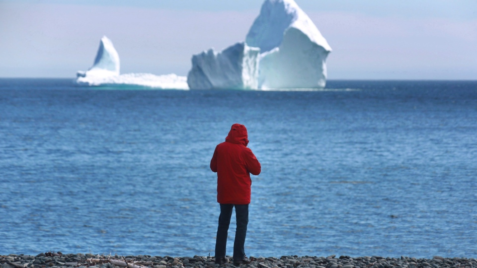 An iceberg is visible from the shore in Ferryland, an hour south of St. John's, Nfld., on Monday, April 10, 2017. (THE CANADIAN PRESS/Paul Daly)