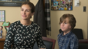 "This image released by Lionsgate shows Jacob Tremblay, right, and Julia Roberts in a scene from ""Wonder."" (Dale Robinette/Lionsgate via AP)"
