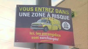 Paramedics in Quebec City, who work for private companies, are pressuring the government for help in contract negotiations