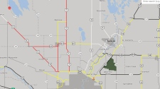 A map shows the closures north of Winnipeg. (Source: Manitoba511)