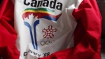 A uniform from the 1988 Olympic torch run is seen in Calgary on October 8, 2009 in this file image. (Jeff McIntosh / THE CANADIAN PRESS)