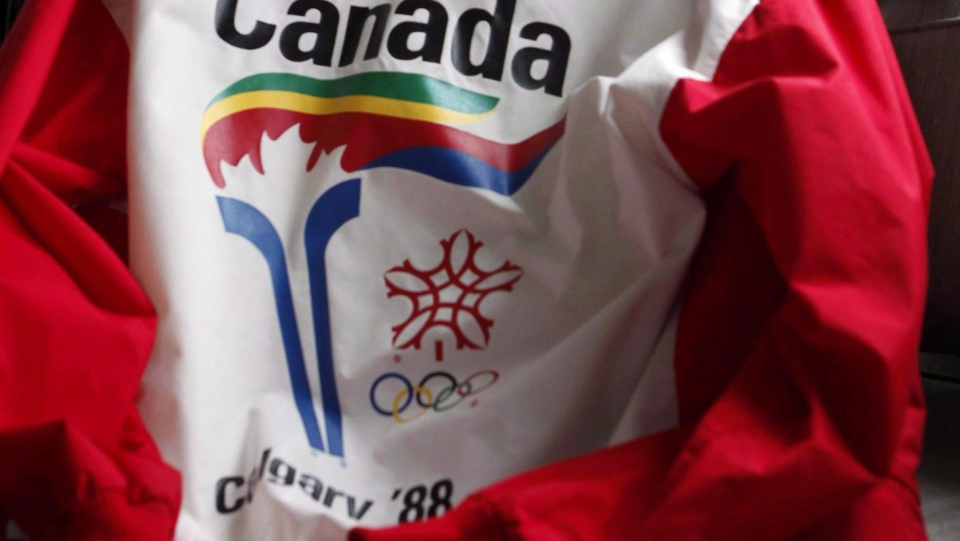 A uniform from the 1988 Olympic torch run is seen in Calgary on Oct. 8, 2009. (Jeff McIntosh / THE CANADIAN PRESS)