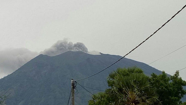 Mount Agung in Bali erupts